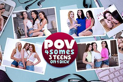POV 4somes - 3 TEENS on 1 Dick
